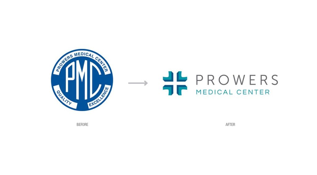 Prowers Medical Center logo rebranding showing the before and after logo design