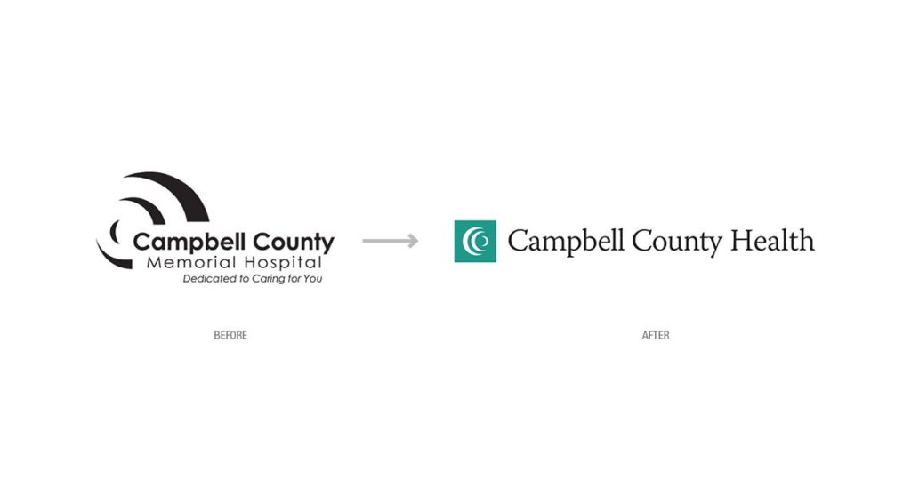 Campbell County Health logo rebranding showing the before and after logo redesign