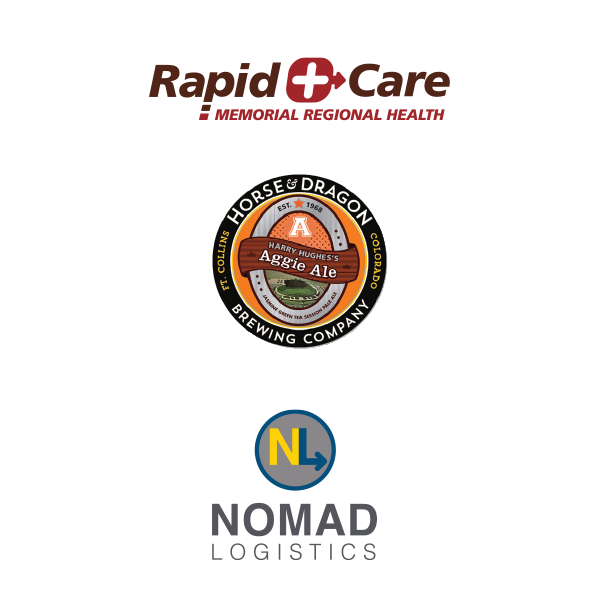 Branding redesigned logos from RapidCare, Horse & Dragon, and Nomad Logistics