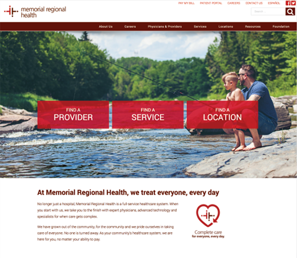 Memorial Regional Health website screenshot showing how Jet can help with digital marketing