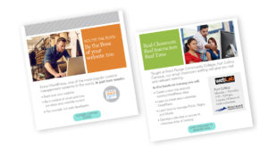 Higher education marketing materials can help boost class enrollment with email campaigns for