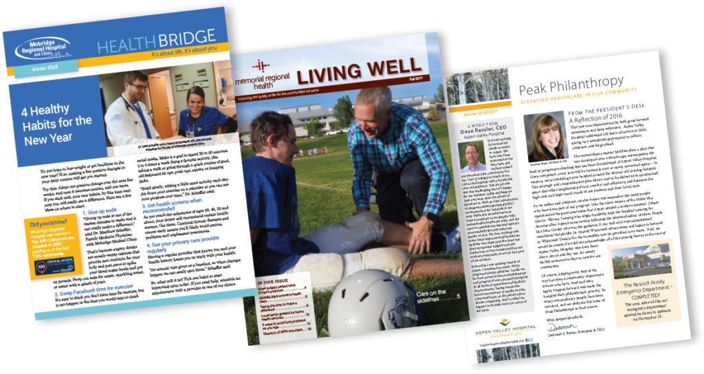 Healthcare custom donor publications for a variety of layout options