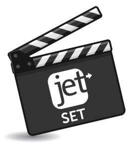 Movie clapboard featuring the Jet Marketing logo