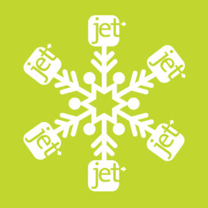 Green snowflake featuring Jets logo showing holiday brand identity
