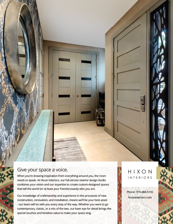 Print advertisement created for Hixon Interiors showing a home entrance hallways