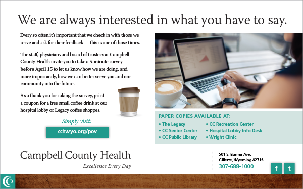 Campbell County Health customer survey advertisement for reputation management