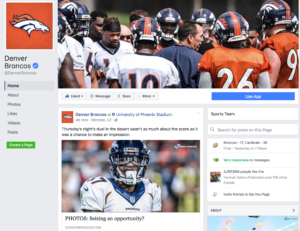 Denver Broncos social media marketing strategy includes keeping fans up to date with the latest information online